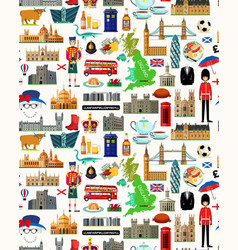United kingdom travel map seamless travel pattern vector