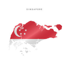 Waving flag map singapore vector
