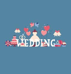 wedding typographic poster vector image