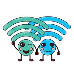 Wifi kawaii icon image vector
