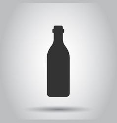 wine bottle icon in flat style alcohol bottle on vector image