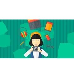 Woman holding camera vector image