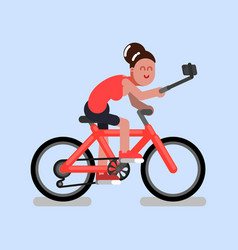 Woman on bike vector