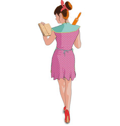 women cooking roller pin vector image