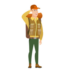 Young caucasian tourist laughing vector