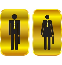 Businessman and businesswoman golden signs vector image vector image