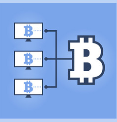 how work cryptocurrency network flat scheme vector image