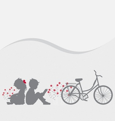Valentine background with children read a book vector image vector image