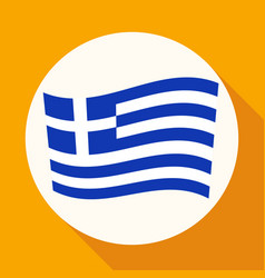 icon greece flag on white circle with a long vector image