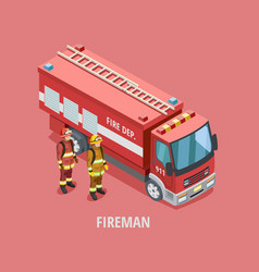profession fireman isometric template vector image