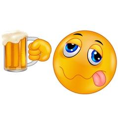 Smiley emoticon holding beer vector image
