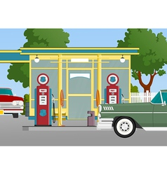 retro gas station vector image vector image