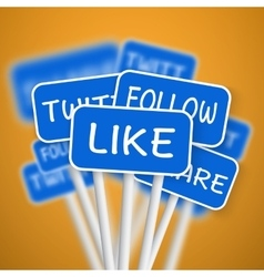Set of Social Media Network Road Signs include vector image vector image