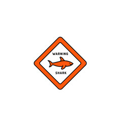 caution sign shark vector image vector image