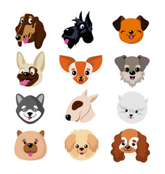 funny cartoon dog faces cute puppy animal vector image vector image