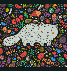 hand-drawn a fat gray cat surrounded vector image