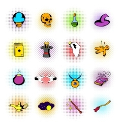 Magic comics icons vector image vector image