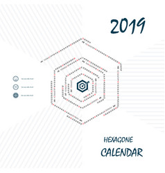 2019 hexagonal calendar templatehexagon shape vector