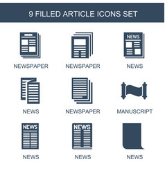 9 article icons vector