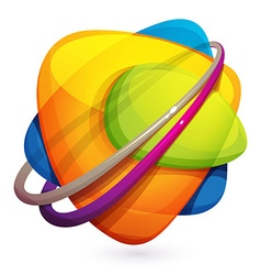 Abstract sphere crazy 3d volume logo vector image