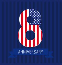 anniversary 8 usa vector image