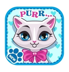 App icon with cute white cat face vector