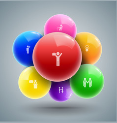 balls with business man icons vector image
