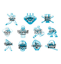 baseball game team sport items and players vector image