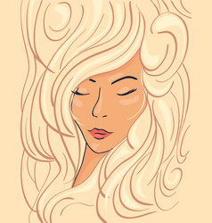 Beautiful face of a blonde girl in thick wavy hair vector
