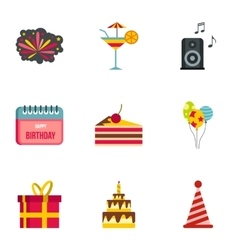 Birthday icons set flat style vector