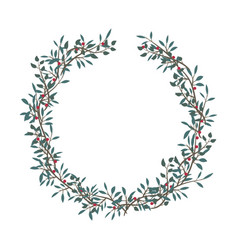 branch wreath frame on white background vector image