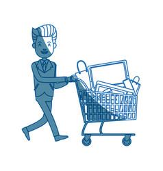 businessman character push shopping cart full vector image