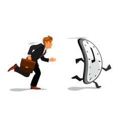 Businessman running late for work vector