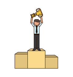 businessman with trophy on podium vector image