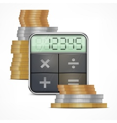 Calculator coins vector image