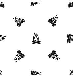 Campfire pattern seamless black vector