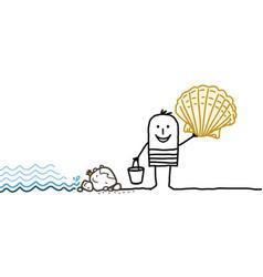 Cartoon man and shells picking vector