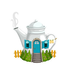 cartoon white kettle or teapot gnome house vector image