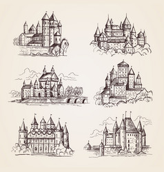 castles medieval old tower buildings vintage vector image