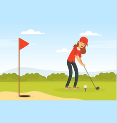 Cheerful woman playing golf hitting ball into hole vector