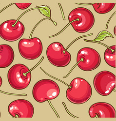 cherry berries pattern on color background vector image