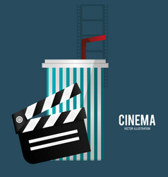 Cinema film clapper soda with straw vector