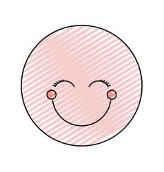 color crayon silhouette happy face female emoticon vector image