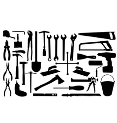 construction tools silhouettes vector image
