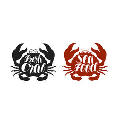Crab logo or label food seafood icon lettering vector