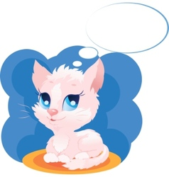 cute thinking kitten vector image