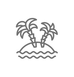 desert island with palm trees line icon vector image