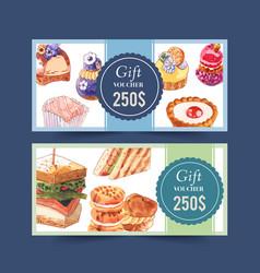 Dessert voucher design with cupcake sandwich vector