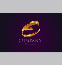 E gold golden alphabet letter logo icon design vector