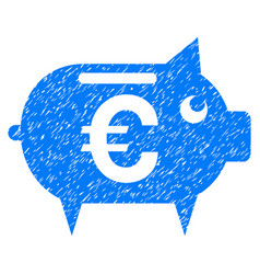 Euro piggy bank grunge icon vector